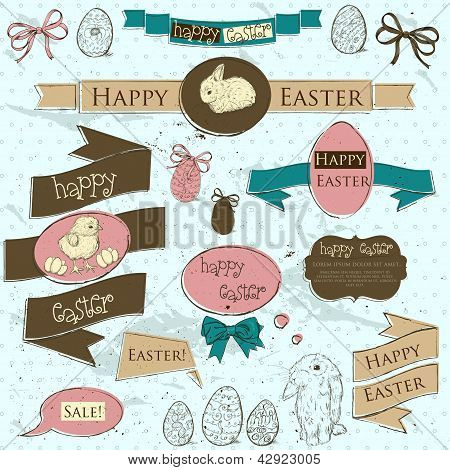 Set of vintage deign elements about Easter.