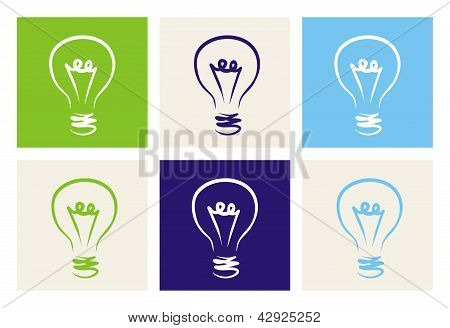 Light bulbs vector icon set on green, beige, blue and navy background. Sign or symbol of creative