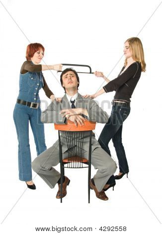 Two Women Dividing A Man