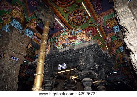 Madurai Tamil Nadu India March 11 2011. Inside of Meenakshi hindu temple