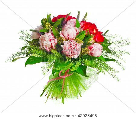bouquet of paeonia, veronica, eremurus, godetia