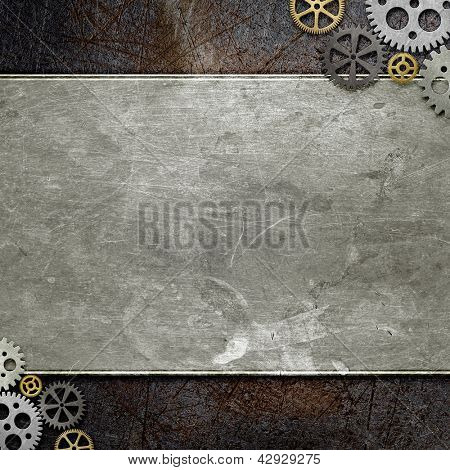 grunge metal with gears, abstract background