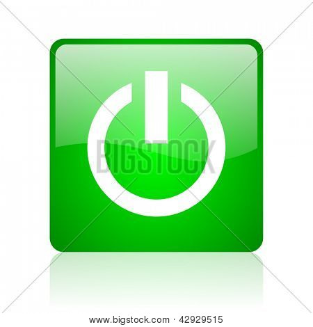 power green square web icon on white background