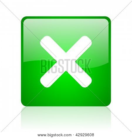 cancel green square web icon on white background