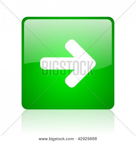 arrow right green square web icon on white background