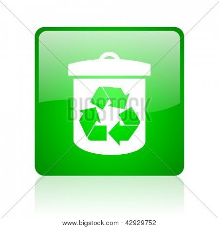 recycle green square web icon on white background