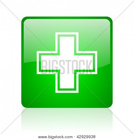 pharmacy green square web icon on white background
