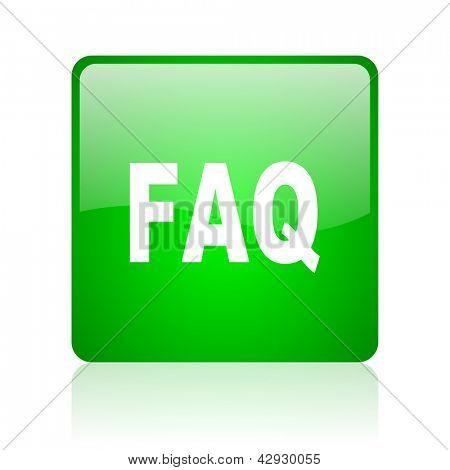 faq green square web icon on white background