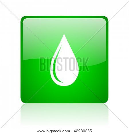 water drop green square web icon on white background