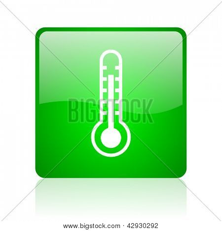 thermometer green square web icon on white background