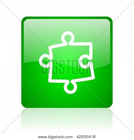 puzzle green square web icon on white background