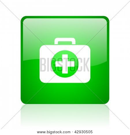 first aid kit green square web icon on white background