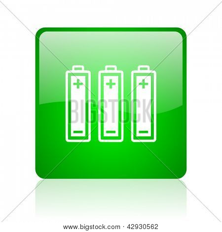 batteries green square web icon on white background