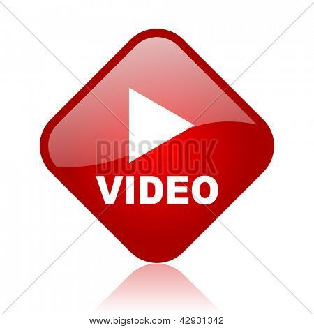 video red square glossy web icon