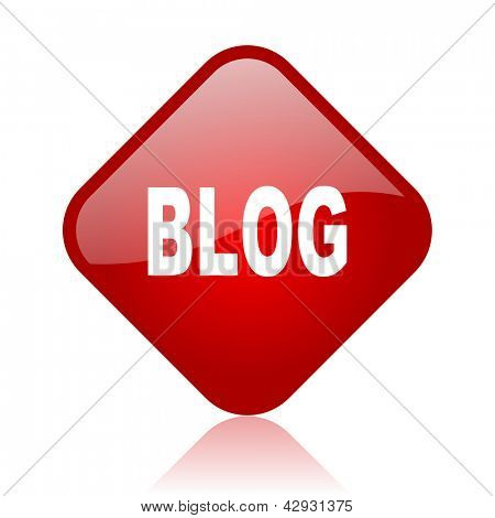 blog red square glossy web icon