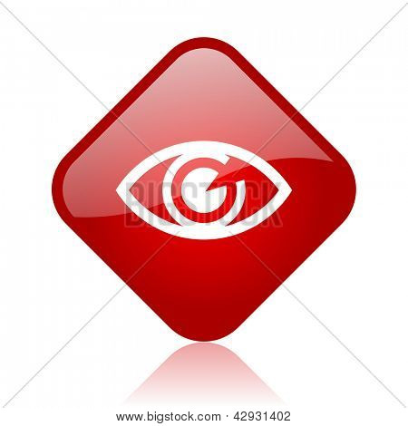 eye red square glossy web icon