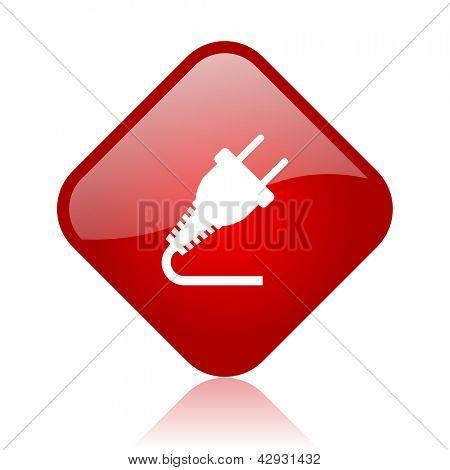 plug red square glossy web icon