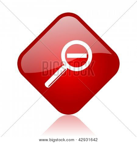 magnification red square glossy web icon