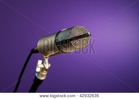 Metallic Microphone On Purple