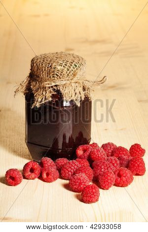 Jelly Jar On Wooden Table