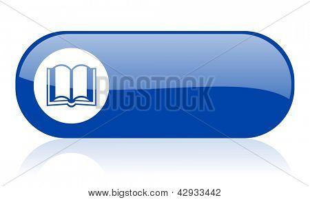 Buch blau Web glossy icon