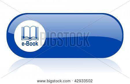 e-book blue web glossy icon