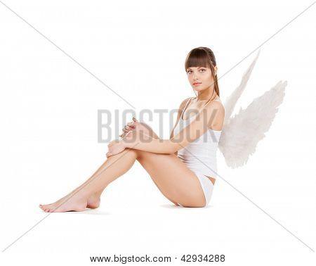 helles Bild der weißen Dessous Engel Mädchen.