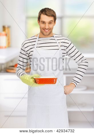 bright picture of cooking man in kitchen