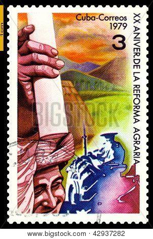 Vintage  Postage Stamp. Cuba. Agrarian Reform.