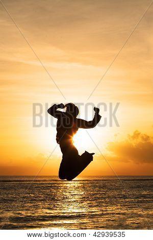 Beautiful Jump On Sunset