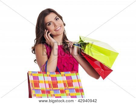 Busy woman on the shopping