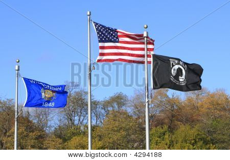 USA - Wisconsin und Pow-Flags