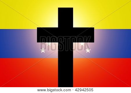 The Venezuelan flag in mourning style