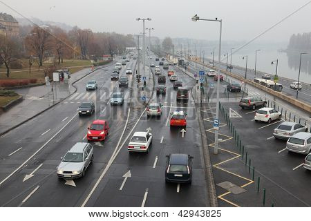 Traffic of cars on an urban road