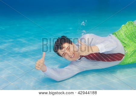 Happy Businessman Underwater