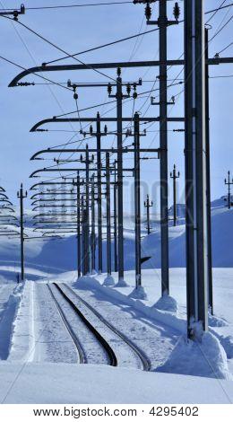 Railway Lines In Snow