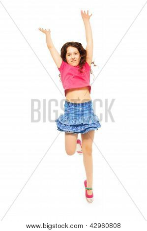 Happy Jumping Girl On Whtie