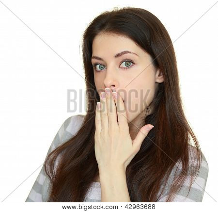 Surprised Woman With Hand Over Her Opened Mouth Isolated