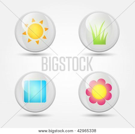Eco vector glossy icons set with shadows