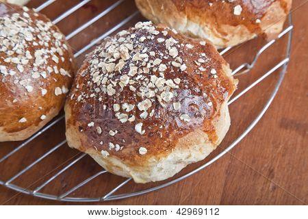 Freshly baked healthy whole grain, oatmeal molasses bread.
