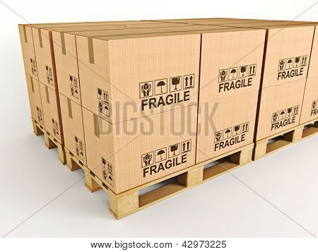 3d image of pallets with classic boxes