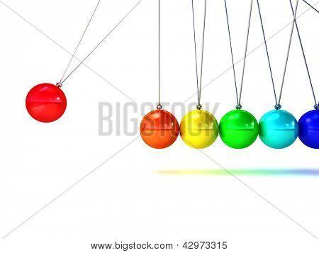 3d image of rainbow newton cradle