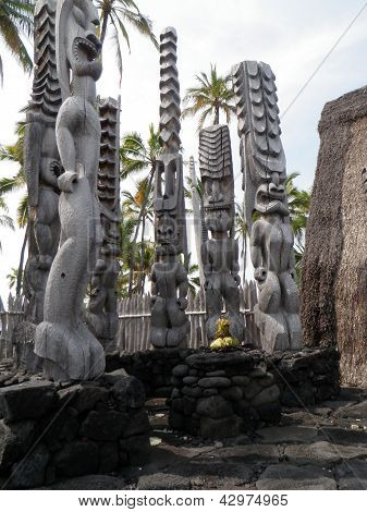 Tiki Statues on Big Island Hawaii