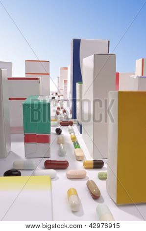 City Made Out Of Pills And Boxes