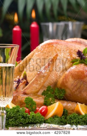 Christmas Turkey On Holiday Table