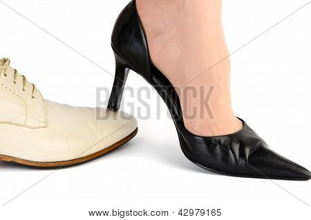 Black Female Heel On A White Men's Socks