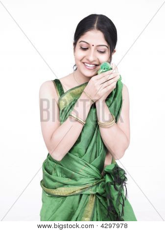 Asian Woman With A Green Chick
