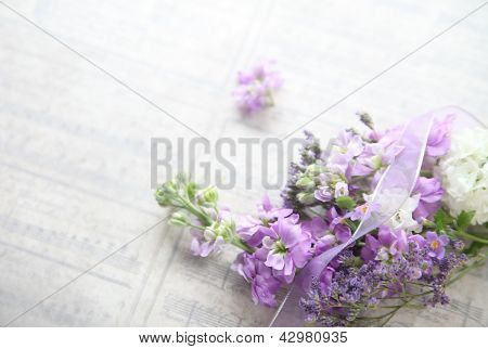 mixed flowers with old music background