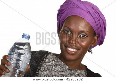 Pretty African Girl With Bottle Of Water