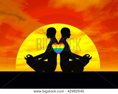 Gay Yoga Love - 3D Render